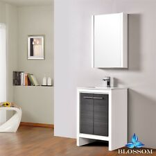 "Blossom 24"" Milan Single Sink Bathroom Vanity In Glossy White & Silver Grey"