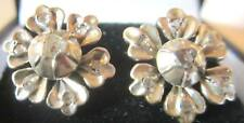Rose Gold Earrings, Floral and beautiful Antique Rose Cut Diamonds, Silver and