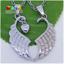 2pc Angel Wing Necklace Set Couple Friendship Best Friend Fairy Gold Silver Tone