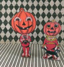 Miniature Halloween 2 Pumpkins Decorations Beistle Co Vintage replica dollhouse