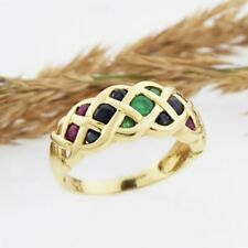 14k Yellow Gold Sapphire Emerald & Ruby Weaved Band/Ring Size 6.75