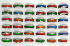 30pcs Lots Colorful Cat-eye Enamel Top Stainless steel Jewelry Band Rings New