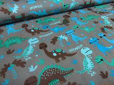 Stoff Baumwolle Jersey Dinos Dinosaurier grau türkis grün blau braun Kinderstoff