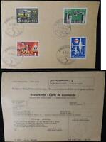 Switzerland 1956 postal history publicity issue bestellkarte railways aviation