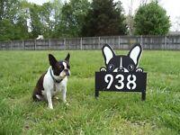 Custom Boston Terrier Personalized Dog Plaque Sign K9 Address Name 3 panel