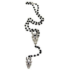 Butler and Wilson Silver Crystal Stag Deer Rosary Bead Necklace NEW
