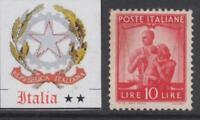ITALY Repubblica - 1945 Democratica  10 Lire Sassone n.559 cv 110$  MNH**