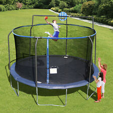 14' STEELFLEX TRAMPOLINE with Enclosure Net and Slama Jama Basketball System NEW