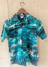 RJC Hawaiian Aloha Friday Shirt Youth 16 Teal Palm Trees Button Up Short Sleeve