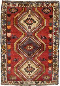 4X6 Semi Antique Tribal Scarlet Red Farmhouse Oriental Rug Decor Carpet 4'0X5'7