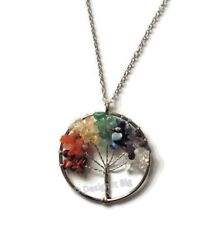 Chakra 7 Healing Stones Tree Of Life Silver Necklace Chain Reiki Pendant Crystal