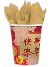 "Chinese New Year Asian Oriental Party Supplies ""Blessings"" Paper Cups 8pk 266ml"