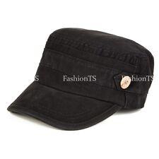 Men's Classic Cotton Army Hat Military Cadet Patrol Style Brim Spring Summer Cap