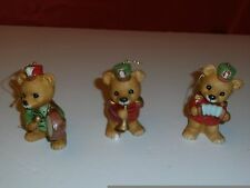 Euc Homco Xmas Marching Band Bears Ornaments w Trumpet Accodian & Drum #5553