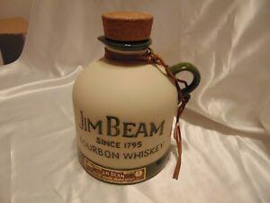 1981 DARK GREEN JIM BEAM DECANTER MOONSHINE JUG W/ ORIGINAL FOIL TAB