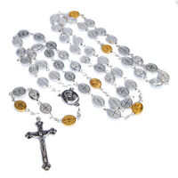 Oval Rosary Prayer Beads w/ Silver-Plated Medals and Holy Soil Jerusalem 25""