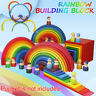 Baby Toddlers Gift Wooden Rainbow Stacker Building Blocks Stacking Nesting Toys