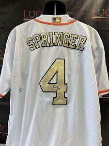 George Springer Signed Auto Gold 2017 World Series Houston Astros Jersey JSA COA