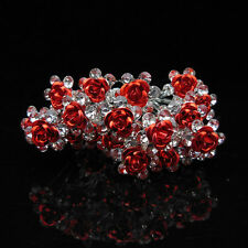 10pcs beautiful red roses bridal hair pins hair accessories wedding party B