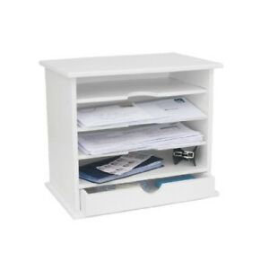 New Wood Mail Organizer, White, 4 Slots 1 Drawer, Lightweight, Assembly Required