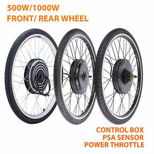 """500W/1000W 26"""" Electric Bicycle Motor Conversion Kit Front/Rear Wheel E Bike PAS"""