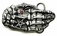 Skull Belt Buckle Skeleton Hand Ring & Pentagram Gothic Authentic Dragon Designs