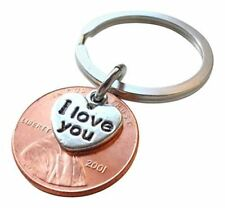I Love You Heart Charm Layered Over 2001 Penny Keychain 16 Year Anniversary Gift