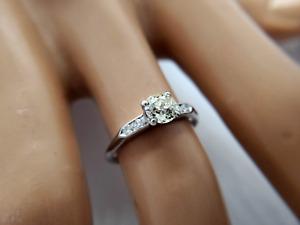 Antique Platinum Old European Diamond Engagement Ring 0.65 CT