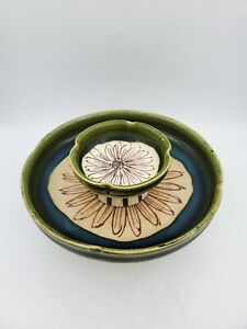 2 Vintage Asian Japanese Chinese Pottery Floral Footed Bowl Compote Green Band