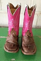Girls Anderson Bean Square Toe Brown/Pink Leather Cowboy Western Boots Size 9