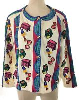 Vtg Michael Simon Womens Cardigan Sweater Sz 2 Beige Red Novelty Print Furniture