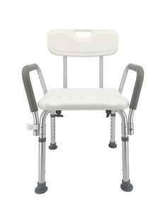Shower Chair Bathroom Seat With Padded Armrests And Backrest Load 350 Pounds