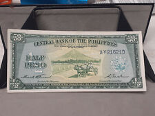 PHILIPPINES 1949 HALF PESO ENGLISH FRACTIONAL NOTE, GARCIA CUADERNO P-132