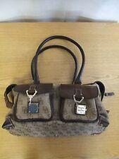 "Ladies Handbag Dooney&Bourke brown leather & canvas, size 13x8x6""+ handles 3139"