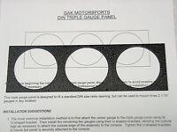 DIN Triple Gauge Panel Black Wrinkle Aluminum GAK Motorsports