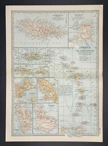 Original Encyclopaedia Britannica Map Jamaica and the Lesser Antilles from 1903