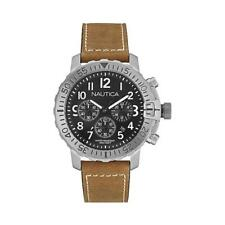 Mens Watch NAUTICA NMS 01 NAI18506G Chrono Leather Brown Black NEW 100mt