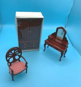 DOLLS' HOUSE ITEMS - WARDROBE, DRESSING TABLE & CHAIR