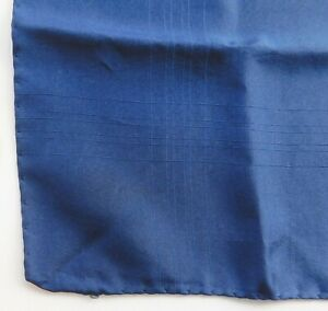 "Vintage silk pocket handkerchief tramline hand rolled hem 15"" square navy blue m"
