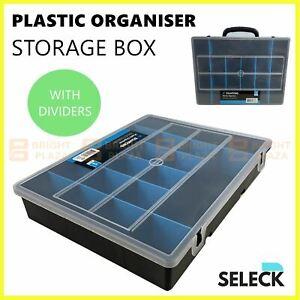 Plastic Organiser Box with Dividers Storage Case Container Screws Parts Craft