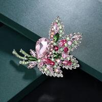 Flower Brooch Pin Women's Wedding Bridal Bouquet Rhinestone Crystal Jewelry Gi