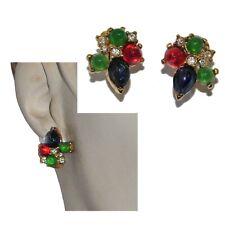 Carven Earrings Vintage Tutti Frutti Color Gold Crystal Jewel