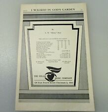 I Walked In GOD'S Garden Sheet Music  by A.W.Mickey Hart Willis Music Co.