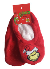 The Grinch Ladies Red Christmas Sherpa Fluffy Slipper Socks Footlets Footies