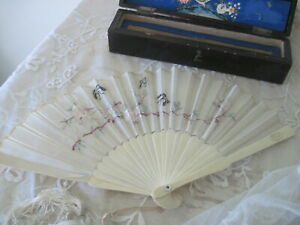Antique Chinese Silk Fan Hand Embroidered with Original Box Roses and Butterflie