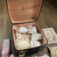 Black Vintage Train Case Luggage Pink Interior Lace Included