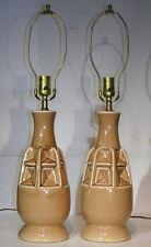 VTG PAIR CERAMIC TABLE LAMP RETRO MID CENTURY MODERN 50s 60s BROWN PINEAPPLE