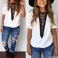 UK Women V Neck Casual Tops Choker T-Shirt Lace-up Plunge Bandage Loose Blouse