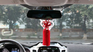 2In1 JDM Red Kiku Knot Match White JP Kin Rope For Car Rearview Mirror Charms