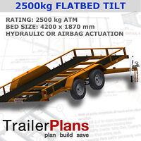 Trailer Plans - TILT FLATBED CAR TRAILER PLANS (14x6ft) - 2500kg - PLANS ON USB